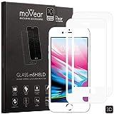 moVear Panzerglas Bildschirm-schutzfolie kompatibel mit iPhone 8 Plus / 7 Plus [2 Stück], 3D Kanten, Premium Gehärtetes Glas, Vollständige Abdeckung, 9H Schutzglas, Anti-Kratzer, Anti-Öl (Weiß)