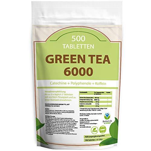 GREEN TEA 6000 - 500 Tabletten XXL Packung für 3 Monate - Vegan - mit 6000mg Grüntee Pulver je Tag / Grün Tee Extrakt 20:1