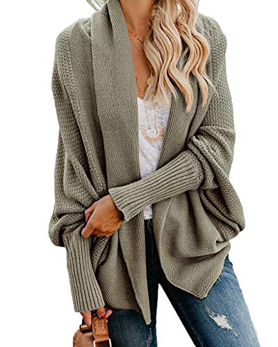 Ybenlow Womens Kimono Open Front Cardigan Sweaters Batwing Sleeve Shawl Collared...