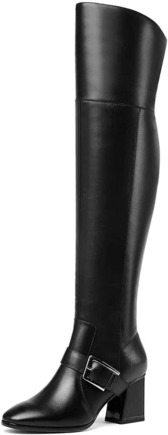 VIMISAOI Women's Buckle Black Fashion Leather Square Heel Over The Knee Boots