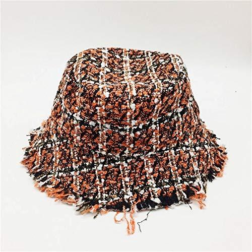 Sombrero Plaid Tweed sombrero del cubo con las lentejuelas señoras de las muchachas negro y rojo Cheques sombreros con los bordes sin Warm Mujer Sombreros de invierno guías de regalos de viajes calien