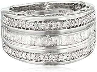 Sterling Silver Round and Baguette Diamond Band (1/2 cttw, IJ Color, I2-I3 Clarity)