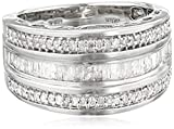Amazon Collection Sterling Silver Diamond 3 Row Band Ring (1/2 cttw), Size 7