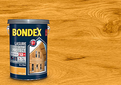 BONDEX - LASURE ULTIMPROTECT 12 ANS - Peinture Satinée Haute Tenue - Satin - Chêne doré - 5L