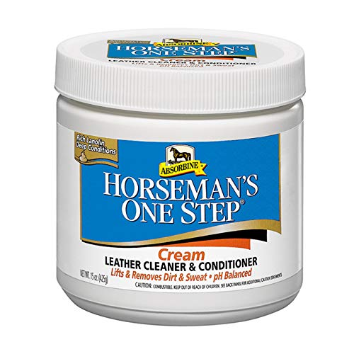 Horseman's One Step Leather Cleaner & Conditioner Cream, Vinyl/Leather Treatment to Clean, Protect, Restore & Prevent Dryness, 15oz