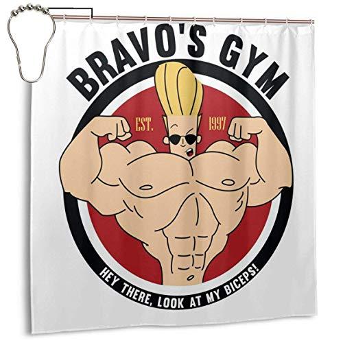 Cortina de ducha de tela de poliéster impermeable Johnny Bravo Bravos con estampado de gimnasio, cortina decorativa de baño con ganchos, 72 pulgadas x 72
