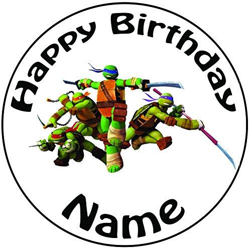 Personalisierter TMNT Teenage Mutant Ninja Turtle Kampf Zuckerguss Kuchen Topper / Kuchendekoration - 20 cm Großer Kreis - Jeder Name Und Jedes Alter