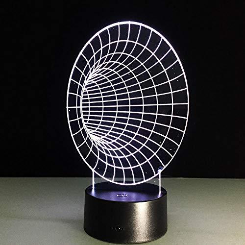 Decoraciones de navidad Lámpara led 3D de túnel espacial, lámparas de noche de 7 colores para niños, lámpara de mesa USB táctil Led, lámpara de noche para dormir para bebés, lámpara novedosa DUYAO00