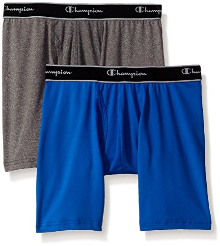 Champion Men's 2-Pack Tech Performance Boxer Brief, Awesome Blue/Dynamic Grey Heather, Large