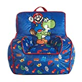 Idea Nuova Nintendo Super Mario Kids Mink Plush Bean Bag Chair with Piping & Top Carry Handle