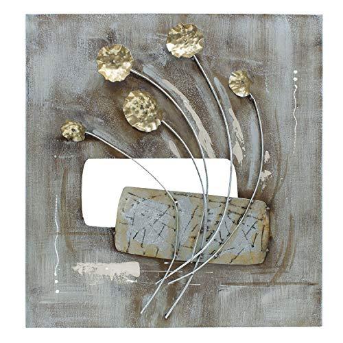 mosa designs House of Arts - 3D Metallbild Wandbild Blumen Gold Silber Bronze Wanddeko 120x40cm (60 x 60)