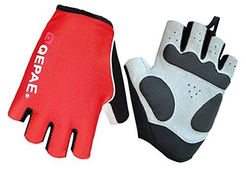 QEPAE® Mitaines de cyclisme avec coussinet en gel lumineux pour la sécurité de nuit, l'équitation, la chasse, la randonnée - Rouge - Taille XL