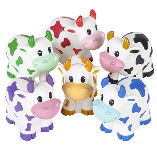Rhode Island Novelty 2 Inch Rubber Water Squirting Cows, One Dozen Assorted