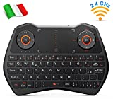 Rii Mini i28C Wireless (Layout Italiano) - Mini Tastiera retroilluminata con touchpad per Smart TV, Mini PC, TV Box, HTPC, Console, Computer