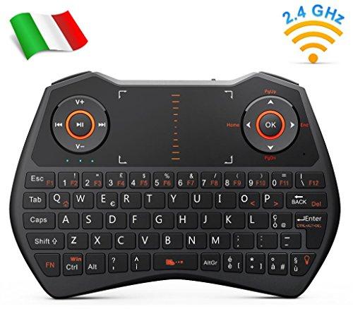 Rii Mini i28C Wireless (Layout Italiano) - Mini Tastiera retroilluminata con touchpad per Smart TV, Mini PC, TV Box, HTPC, Console, Computer