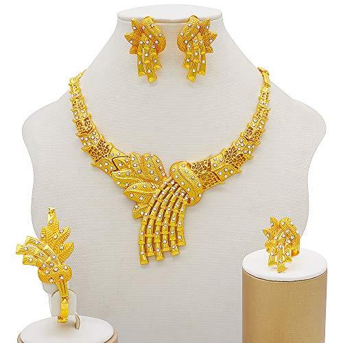 DSJTCH Juegos de joyería de Oro Pendientes de Collar de Mujeres Dubai Africano Indio Andal Accesorio de Flores Conjuntos de Joyas Collar (Metal Color : Bj814)