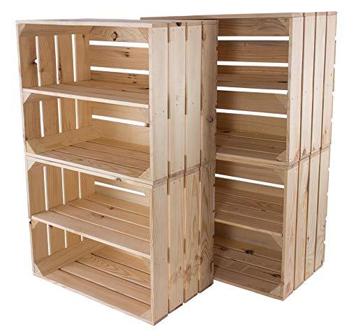 Natur Obstkiste mit Zwischenboden 50cm x 40cm x 30cm Weinkisten Naturbelassen unbehandelt helle Regalkiste Holzboxen als Wandboard stabile Dekokisten für Flur/Wohnzimmer