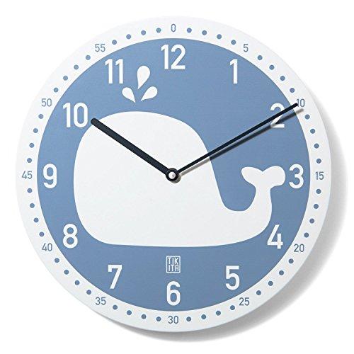 Tikita Kinderwanduhr Wal Blobb - ø 30 cm geräuscharm Walfisch blau Fisch Uhr
