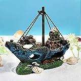 UEETEK Aquarium Ornamente Dekoration Wrack Schiff Fish Tank Zubehör Harz für Garnelen Cichild - 8