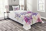 ABAKUHAUS Lavendel Tagesdecke Set, Rosa Lila Blumen, Set mit Kissenbezug Mit Digitaldruck, für Einselbetten 170 x 220 cm, Violett rosa weiß