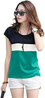 Piku Fashion Color Block Women Round Neck Multicolor T-Shirt