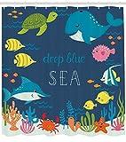 /N Set de Cortinas de baño para niños Cartoon Underwater Life Blue Navy