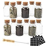 CUCUMI 12pcs 150ml Glass Spice Jars Reusable Spice Jars Bottles Glass Containers with Cork...