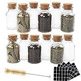 CUCUMI 12pcs 150ml Glass Spice Jars Reusable Spice Jars Bottles Glass Containers...