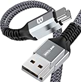 BrexLink USB C Fast Charging Cable(3A), USB C to USB A Charger (3ft/2 Pack), Nylon Braided Fast Charging Cord for Samsung Galaxy S10 S9 S8 Note 9, Pixel, LG V30 G6, Nintendo Switch (3ft+3ft, Grey)