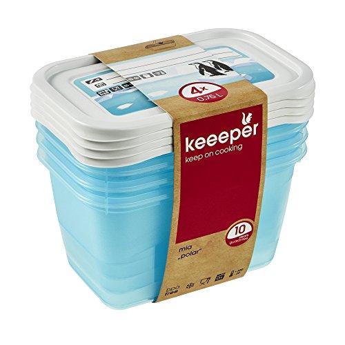 keeeper Tiefkühldosenset 4-teilig, Wiederbeschreibbarer Deckel, 4 x 750 ml, 15,5 x 10,5 x 8,5 cm, Mia Polar, Eisblau Transparent