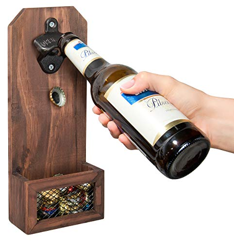 Cucina di Modena Wandflaschenöffner: Flaschenöffner mit Kronkorken-Auffangbehälter, Holz, zur Wandmontage (Flaschenoeffner)