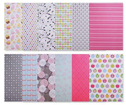 24 Blatt Designpapier / Motivpapier / Bastelpapier / A4 / 12 verschiedene Muster