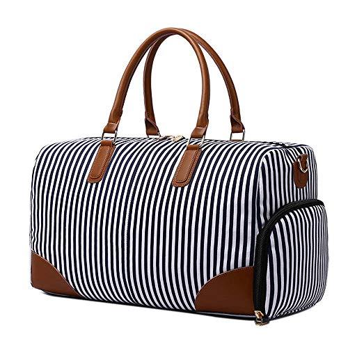 Neuleben Reisetasche Weekender Tasche mit Schuhfach Laptopfach Groß Handgepäck Sporttasche aus Canvas Leder Unisex für Reise Urlaub Sport (Streifen Blau)
