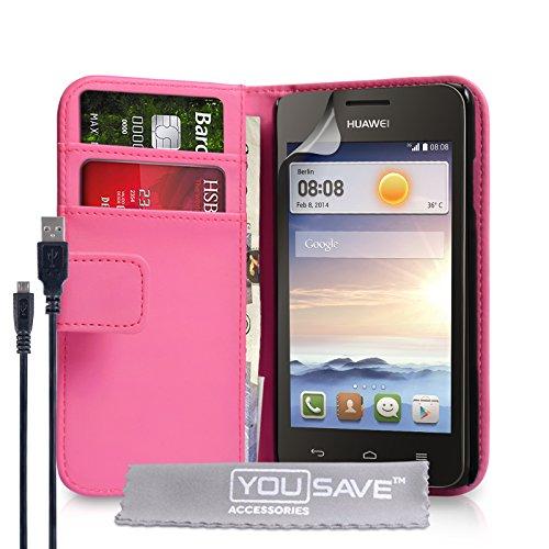 Yousave Accessories Kompatibel Für Huawei Ascend Y330 Tasche Dunkelrosa PU Leder Brieftasche Hülle Und USB-Kabel
