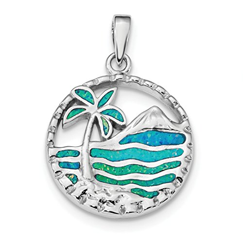 925 Sterling Silver Blue Created Opal Palm Tree Ocean Pendant Charm Necklace Sea Shore Outdoor Nature Fine Jewelry For Women Gift Set