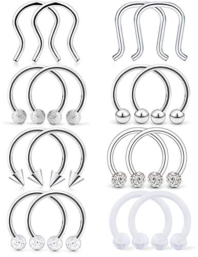 Hoeudjo 16Pcs 16G Septum Jewelry 10mm Surgical Steel Nose Septum Ring for Body Piercing Jewelry Retainer for Men Women Silver-Tone
