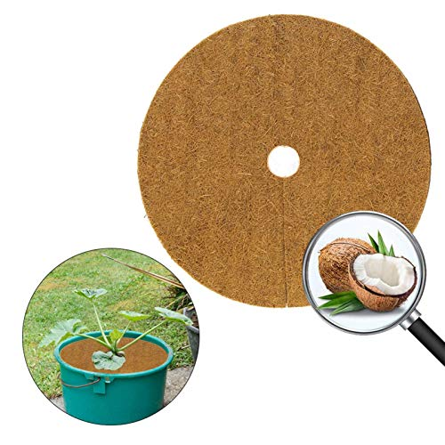 mooderff 10 Stück Kokosscheibe Kübelabdeckung Runde Kokosfasern Pflanzenabdeckung Pflanzenschutz Mulchscheibe, Diameter 20/30/40cm