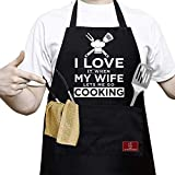 APRONPANDA I Love My Wife When Lets Me Go Cooking - Funny Kitchen Cooking Apron for Men,Birthday Gifts for Men,Dad,Gifts for Husband,Boyfriend