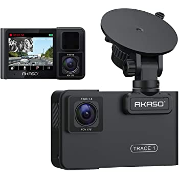 AKASO Trace 1 Dual Dash Cam for Cars, Car Dash Camera Front 1080P60 Dual 1080P30 340° Coverage Infrared Night Vision with Sony STARVIS Loop Recording G-Sensor Support max. 128GB Card