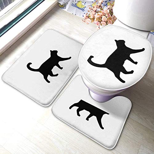 kglkb Juego de alfombras para Inodoro Icono de Gato para Caminar Símbolo de Silueta Antideslizante Alfombra de baño Cubierta de Inodoro y Tapa de Inodoro Adecuado para la decoración de alfombras
