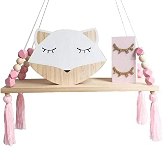 Mallalah Étagère Murale Nordique Enfant Copine Princesse Style Décorative  Suspendue Bois Tassel Perle Commode Présentoir Planche