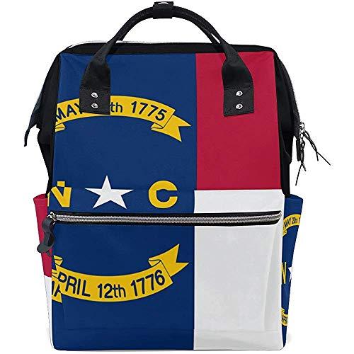 Shoulder Backpack,Bolsa De Mamá con Bandera del Estado De Carolina del Norte Mochilas Cómodas para Niños para Escalar, Caminar 40cm(H) x18(W) cm
