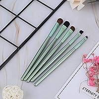 基礎パウダーブラシ-5ピースポータブル化粧品ブラシアイシャドウ基礎パウダーブラシセット化粧ツール(緑)