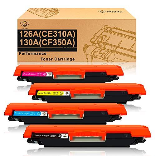 CMYBabee Cartuchos de toner compatibles para HP 126A (CF341A) 130A (CE310A) CF350A para HP Laserjet Pro CP1025 CP1025nw Color M175a M175nw MFP M176 M176FN M177 M177FW TopShot M275 M275NW(4 Paquete)