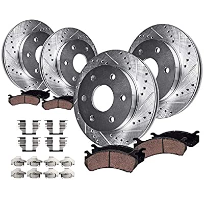 Detroit Axle - All (4) Front and 325mm Rear Drilled and Slotted Disc Brake Kit Rotors w/Ceramic Pads w/Hardware for SINGLE PISTON REAR CALIPERS