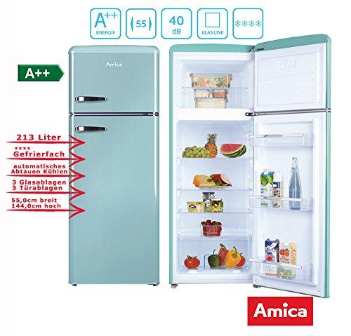 Amica Retro Kühl-/Gefrierkombination Blau KGC 15632 T A++ 213 Liter mit **** Gefrierfach Ice Blue