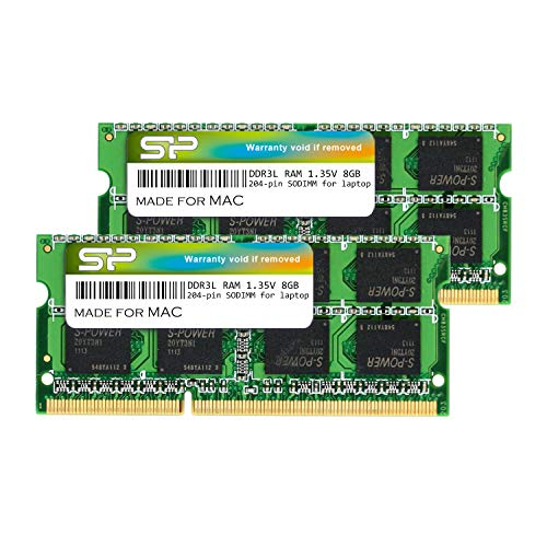 Silicon Power DDR3/DDR3L 16GB (2 x 8GB) RAM 1600MHz (PC3 12800) SODIMM Memory Compatible with Early/Mid/Late 2011, Mid/Late 2012, Early/Late 2013, Late 2014, Mid 2015 MacBook Pro, iMac, Mac Mini