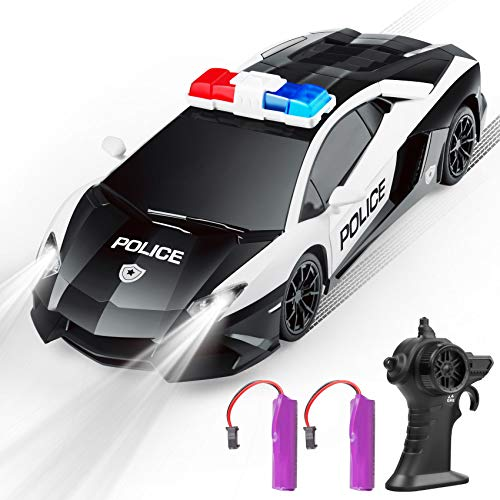 AUTAZON Remote Control Car, RC Police Car with High Speed 2.4Ghz Rechargeable Batteries, Durable Remote Control Cop Vehicle Toy with Lights, Gift for Boys and Girls