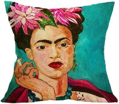 Homgomco dise/ño vintage de Frida Kahlo para decoraci/ón del hogar Blue Clothes 45 x 45 cm Funda de coj/ín 45 x 45 cm