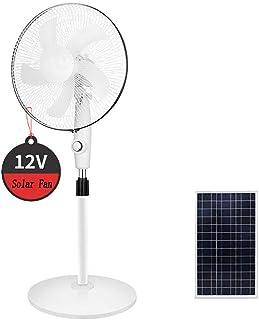 GMRZ Ventilador Solar, DC Motor Tranquilo 16 Pulgadas Ventilador De Pie OscilanteCabeza Ventilador 3 Velocidades con Panel Solar Fan Recargable para Home Outdoor Camping